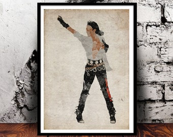Michael Jackson Bad A4 Watercolour print moonwalk Thriller Jackson 5 king of pop music moonwalker wall art home decor