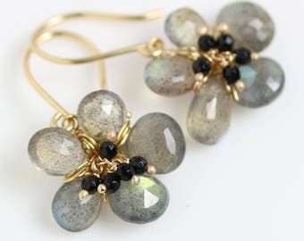 Labradorite Flower Earrings  with Black Spinel Clusters. 14k Gold and Gold Fill.
