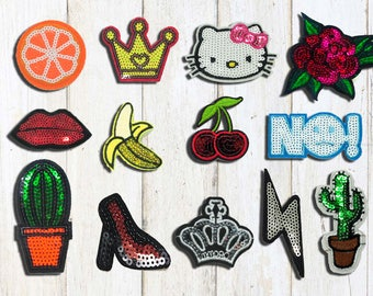 Sequin Iron on  Patches (S,M) ,Rose /Crow /Mouth /Cactus /Kitty / Cherry Iron on Patches,Patches, Patch, Set Patches, Embroidered patch