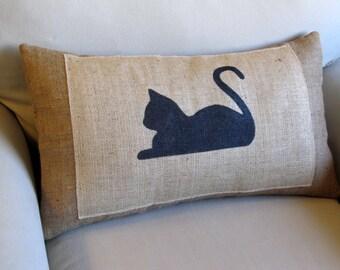 here kitty kitty hand painted burlap sofa pillow 14x24