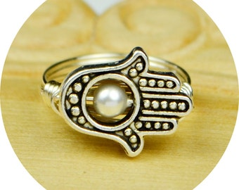 Hamsa Hand Ring- Sterling Silver Filled Wire Wrap Ring, Silver Plated Hamsa Hand and Crystal Peal -Any Size 4, 5, 6, 7, 8, 9, 10,11,12,13,14