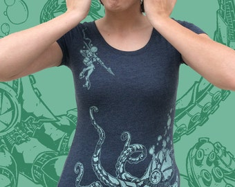 Womens Scoop neck Tee - Roboctopus Tshirt - Robot Octopus Tentacle Next Level shirt
