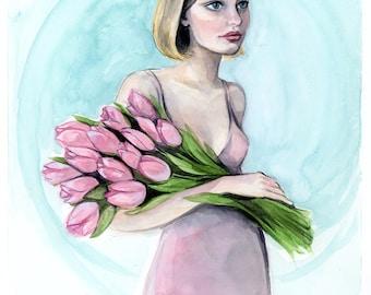 Pink Tulip Watercolor Painting