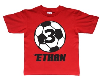 Personalized Soccer Sportsball Birthday Shirt - any age and name - pick your colors!