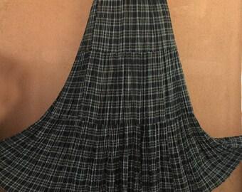 Black Plaid Broomstick Tiered Summer Skirt - Medium