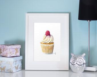 Cupcake with raspberry Art Print, Cupcake, Food Art, Wall Decor, Kitchen Art, Bakery, watercolor Cupcake, Cupcake Wall Art