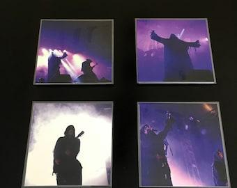 Black Metal Mayhem 4 Set of Glass Coasters Live Pro Photos