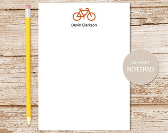 personalized bicycle notepad . bike note pad . personalized stationery . bike silhouette stationary