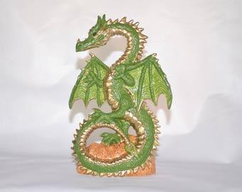 Green and Gold Ceramic Dragon Statue ~ Dancing Dragon