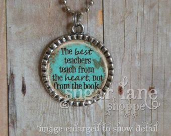 Teacher Necklace - The Best Teachers Teach from the Heart - (BTA1 - Aqua, Brown) - Silver Bezel Pendant with Chain