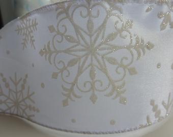 "White Snowflake Wired Ribbon 2.5"" x 4 yards"