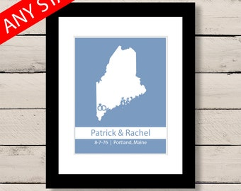 Maine Engagement Art, First Anniversary Gift, Personalized Wedding Gift, Maine Map Art Print, Engagement Gift, Gift for Wedding