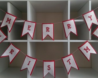 """Christmas Felt Banner, Red and White Garland, Merry Christmas Bunting, 6'5"""","""