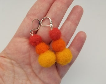 Warm colors needle felted pom earrings