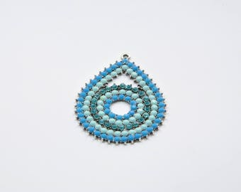 Drop BR229 - 1 large charm in Silver Blue