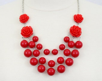 Multi Strand Rose Bubble Necklace Statement Necklace Bib Necklace True Red