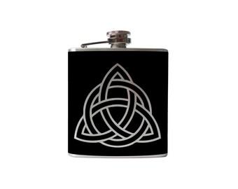 Celtic Knot flask- alcohol, liquor, booze, wedding, bridal party, hip pocket- Personalized Custom - YOU pick COLOR