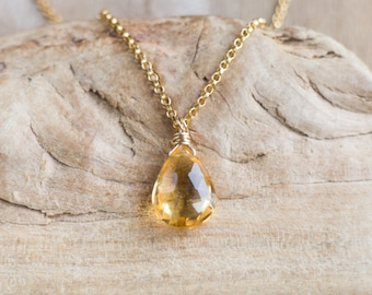Citrine Pendant, Mom Gift for Wife, Citrine Necklace, Gemstone Pendant, Tear Drop Pendant, Citrine Jewelry, November Birthstone Necklace