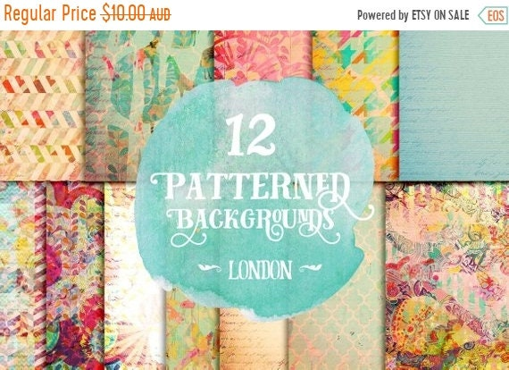 70% OFF Sale Digital paper, Digital Scrapbook paper pack - Instant download - 12 Digital Papers - London
