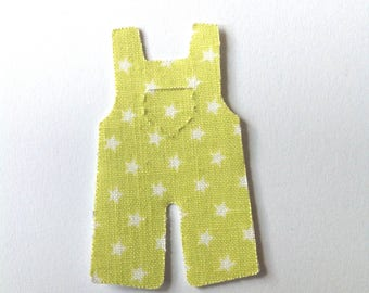 12 Baby green stickers, Adhesive fabric overalls with stars, handmade washi tape