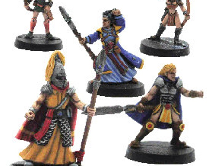 Elfsera Adventures Miniatures Set #4 (5) Solid Pewter, Fully Painted - 40511 - Crystal Caste