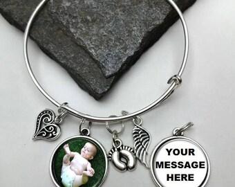 Two-Sided Baby Memorial Photo Charm Bracelet, Loss of Baby Bracelet, Personalized Bracelet, Memory Bracelet,