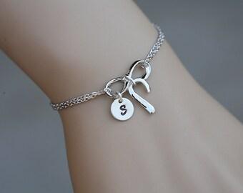 Infinity bow Initial bracelet,Monogram knot bracelet,Bridesmaid gift,wedding jewelry,sisterhood bracelet,graduation gift,best friend gift