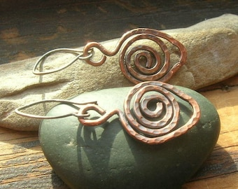 Hammered Copper Leaf Earrings