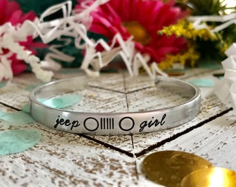 JEEP GIRL--handstamped skinny silver cuff bracelet--girl jeeper--girl power--strong woman--jeep pride--friend gift--jeep jewelry