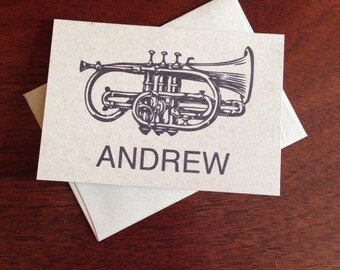 Trumpet Personalized Note Cards (set of 10)