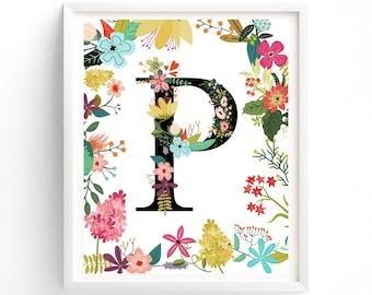 Printable Garden Series Letter P, Monogram, Floral, Flower Lettering art print