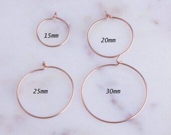 2Pairs-Rose Gold Filled Wire Hoop Earrings,Rose Gold Wire Earrings, Minimalist Hoop Earrings, Simple Hoop Earrings,Priced Per Pair,GFER129