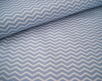Cotton old blue / white with Chevron pattern