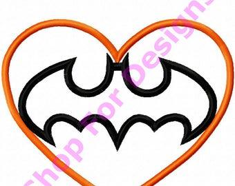 Batman Logo Valentines Day Heart Baby Applique