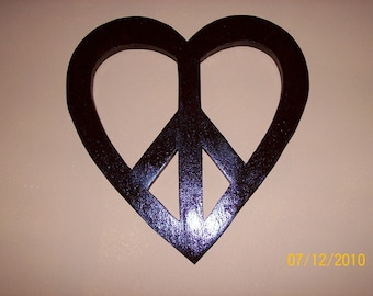 Love and Peace Wooden Symbol