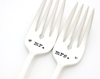 Wedding Shower Gift. Mr and Mrs wedding forks. Hand stamped silverware.