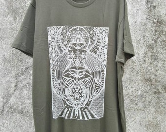 Army green tshirt with screenprinted visionary art unique design size XL