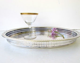 Vintage Silverplate Gallery Tray - Silver Plate - Gorham Newport Silver - Oval Silver Tray - Tray with Side Rail -   Elegant Serving Tray