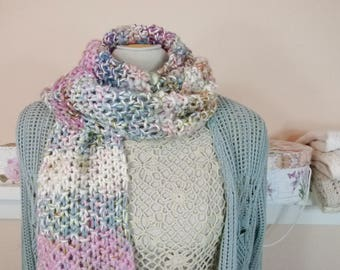 Rustic Shabby Chic Hand Knit Scarf of Hand-spun Yarns and Mixed Fibers - Item 1603