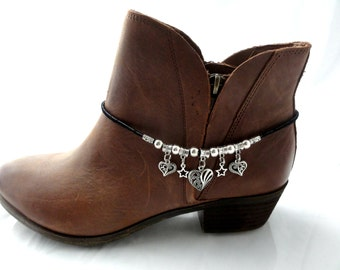 Accessories for Boots, Silver, Boot Accessories, Charmed Hearts