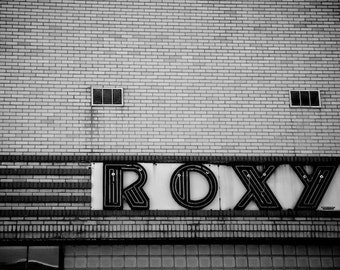 Industrial Decor, Black and White Photography, Art Deco Decor, Roxy Theatre, Clarksville, Tennessee Photography