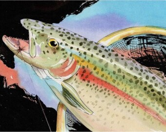ORIGINAL Fish Watercolor 7.5 X 10.5 Art Rainbow Trout Cottage Lake house decor by Barry Singer
