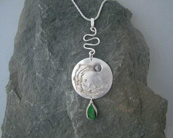 Sterling silver 'Meteorite Hit' pendant. Circular drop style, rough diamond, Russian Uvarovite, gold detail, teardrop stone, green druzy