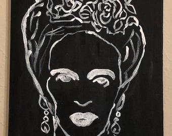 Frida Black and White original painting