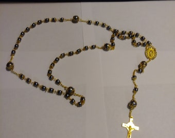 Golden Rosary with Grey Pearls