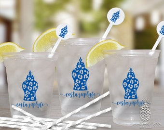 Ginger Jar Party | Customizable Clear Disposable Cups | Birthdays, Weddings, Engagement Bridal Parties or Baby Shower | social graces and Co