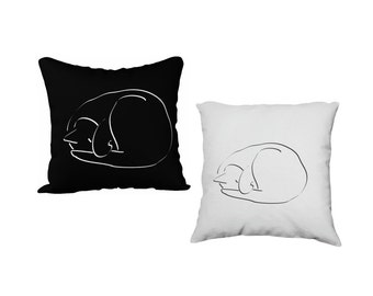 Cat Accent Pillow Case, Printed Cover, Pillow Sham, Decorative Throw Pillow, Velveteen or Canvas Pillow, Square Pillow, Black or  White