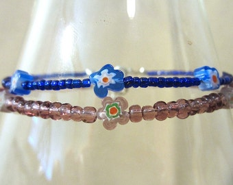Blue or Purple Millifiore Flower & Glass Seed Bead Anklet, Blue Purple Flower Beaded Ankle Bracelet, Handmade Glass Bead Jewelry Blue Anklet