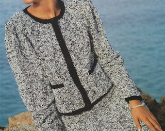 Womens Chanel Style Suit PDF Knitting Pattern : Jacket and Skirt . Ladies 30, 32, 34, 36, 38 and 40 inch chest . Digital Download