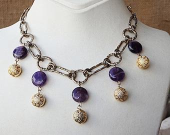 Boho fringe necklace, Tribal necklace, Gypsy necklace, Genuine amethyst jewelry, Purple gold necklace, Brass necklace, Coachella necklace